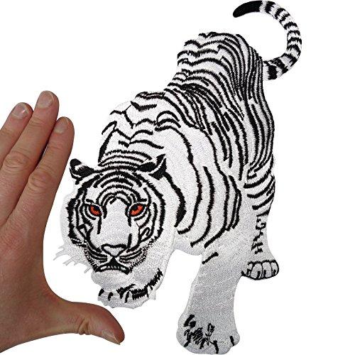 Parche grande de tigre blanco para coser o planchar con diseño de gato de animal bordado