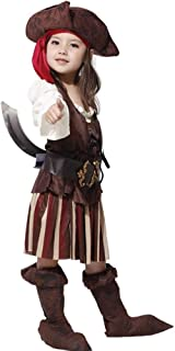 Halloween Kids Fancy Dress Costume, Girls' Masquerade Performances, Pirate School Color Suits (Color : Brown, Size : XL)
