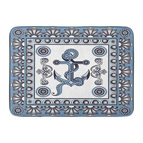 Funny Z Ancla de Viaje Azul Marinero Cerámica Español Portugués Azulejo Ruso Gzhel Felpudo Baño Alfombra Antideslizante Entrada Alfombra de Puerta de Bienvenida 15.7×23.5 Pulgadas