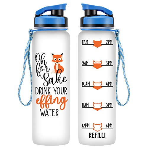 LEADO 32oz 1Liter Motivational Tracking Water Bottle w/Time Marker, for Fox Sake Drink Your Effing Water - Funny Valentines Day, Birthday Gifts for Women, Friends, Girlfriend, Wife, Mom, Daughter, Her