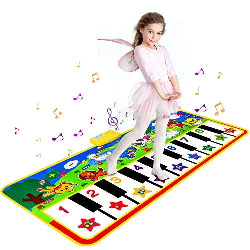 Shayson Klaviermatte, 19 Keyboard Musikmatte für Kinder,Tanzmatte mit 8 Tierstimmen,Keyboard Matten Baby Spielzeug für Kinder