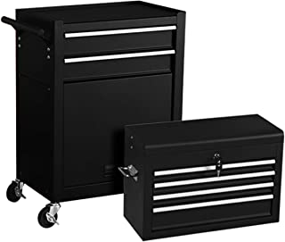 Rolling Tool Chest 6-Drawer Toolbox Removable Tool Storage Organizer Lockable Cabinet (Brilliant Black)