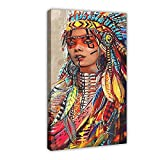 Cuadro de 30 x 45 cm, diseño de niña india nativa americana con plumas coloridas, para decoración de la sala de estar, dormitorio, 30 x 45 cm. Marco:
