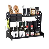 TJZY Especiero de 2 niveles de aluminio para botellas, estante de cocina, organizador de...