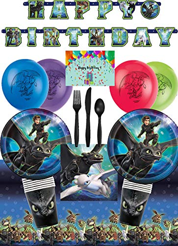 How To Train Your Dragon 3 Party Supplies and Birthday Decorations for 16 - Plates, Napkins, Cups, Table Cover, Banner, Balloons, Cutlery and Birthday Card by JPMD