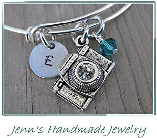 Hand-Stamped Bangle Bracelet Camera Charm with your choice of initial and bead