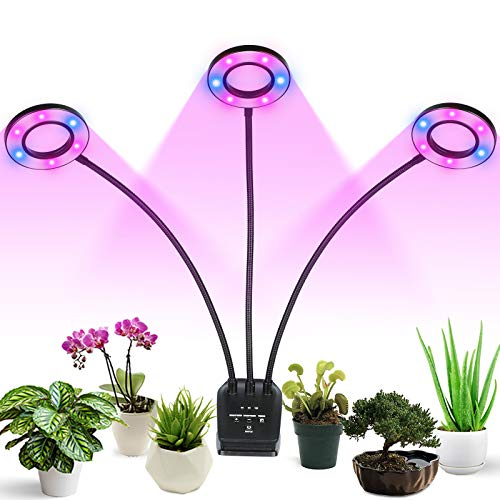 Professional Grow Light, Full Spectrum LED Plant Light for Indoor Plants, 3/6/12H Auto ON/Off Timer, 8 Dimmable 36W Triple Heads Growing Lamp for Garden Seeds Herbs Succulents Orchids Hydroponics