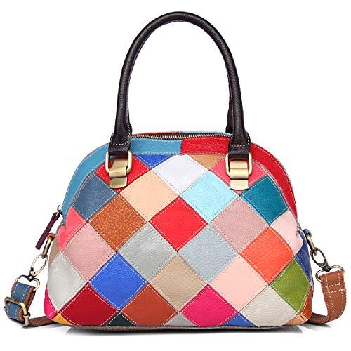 Mehrfarbige Muschel-Handtasche für Damen, echtes Leder, süße Tragetasche, bunte Handtasche