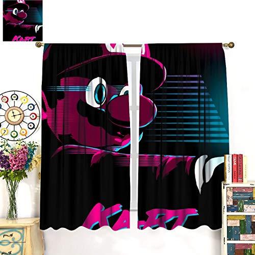 Petpany Super Mario Game Comics Art Póster tipo barra de desgaste cortina para sala de estar, 140 x 160 cm, hermosa decoración de habitación y ajustes convenientes. Cortinas de dormitorio