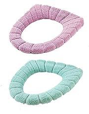 2 STKS Dikker Toiletbril Cover Kussen Pads, Zachte Badkamer Toiletkussen, Warmer Kussen Toiletbril Pad, Rekbare Toiletbril Cover Pads geschikt voor de meeste van de familie O-U-type toilet