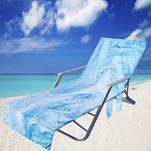 Fansu Toalla de Microfibra para Tumbona de Playa, Cubierta de la Silla de la Calesa con Bolsillos Múltiples/Ligero/Ultra Absorbente, Toalla de Viaje, Toalla de Baño (75 x210 cm,Azul)