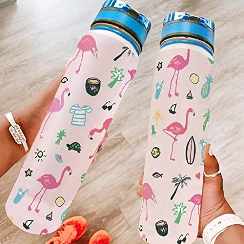 Botella de agua Flamingo impresión portátil botella deportiva a prueba de fugas y sin BPA botella de fitness que garantiza que bebas suficiente agua el día blanco 1000 ml