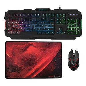 Pack de teclado y ratón RGB con alfombrilla gaming. Equipa tu escritorio con todo lo necesario para jugar Teclado RGB Rainbow con 3 modos de iluminación, control de intensidad y teclas de altura optimizada Ratón gaming con iluminación RGB Flow y hast...