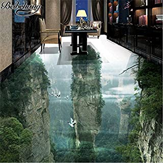 Custom Flooring 3D Human Fairyland Peak Cliff Living Room Bathroom Decoration Painting 3D Floor Tiles Painting-L350Xw250Cm