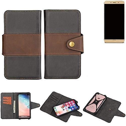 K-S-Trade® Handy-Hülle Schutz-Hülle Bookstyle Wallet-Case Für -Allview X4 Soul Lite- Bumper R&umschutz Schwarz-braun 1x