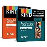 KIND Healthy Snack Bars, Dark Chocolate Nuts & Sea Salt and Peanut Butter Dark Chocolate Variety Pack, Gluten Free Bars, 1.4 OZ, 24 Count