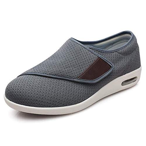 Juan - Zapatillas diabéticas con pies hinchados ajustables para caminar con zapatilla ajustable extra ancha para ancianos unisex, talla 45