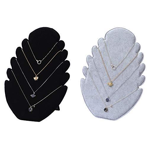 xutong 2 expositores para collar, expositor de collares, con 5 ranuras para cadena, para colgar collares, joyeros, organizador para joyas, terciopelo, color negro y gris