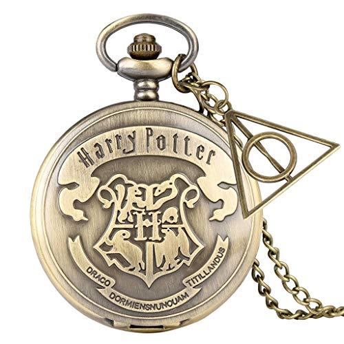 SLSFJLKJ Relojes de Bronce Retro School H Reloj de Bolsillo de Cuarzo Collar analógico Cadena Colgante Mujeres Hombres con Accesorios de Regalos