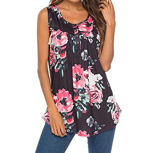 Camisetas para Mujer Floral de Verano Impreso Chaleco Informal con Botones Top sin Mangas con Cuello en V Blusa Tallas Grandes de Verano Tops para Casuales con Cuello en V Camisetas sin Mangas Túnica