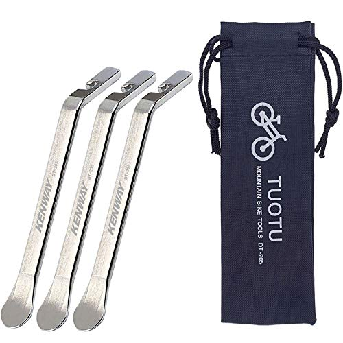 TuoTu Bicycle Tire Lever Tyre Spoon Iron Changing Tool, Bike Tire Levers Premium Stainless Steel Levers to Repair Bike Tube, Set of 3 And Drawstring Bag
