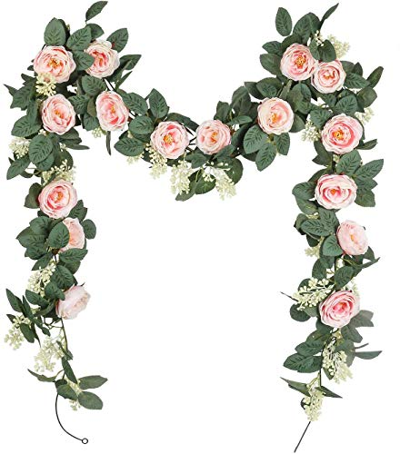 U'Artlines Juego de 2 (4,0m en Total) Guirnalda de Rosas Artificiales Flores Colgantes Guirnalda Flores y Plantas Artificiales para la Decoración del Jardín de la Boda del Hotel(Rosa)