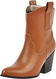ELEEMEE Women Fashion Chunky Heel Cowboy Boots Pull On