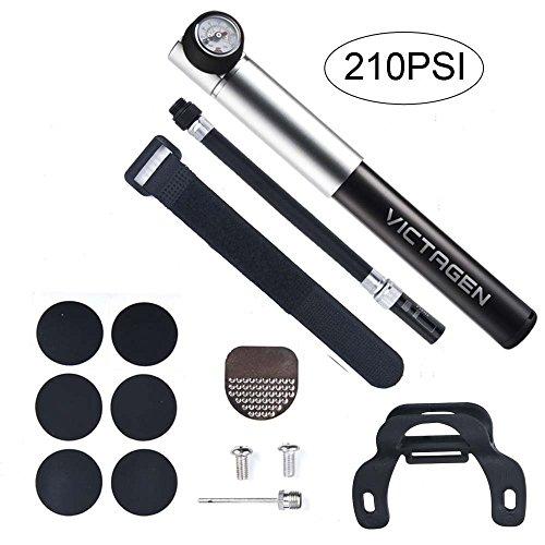 Victagen Mini Bomba de bicicleta con manómetro, herramienta de bicicleta compatible con válvula Presta y Schrader, inflación precisa de neumáticos de bicicleta para carretera, bicicletas de montaña y BMX - Alta presión 210 PSI, incluye kit de montaje, Negro