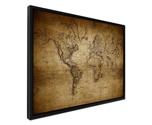 Paul Sinus Art 105 x 75 cm - Couleur Sepia - sur Toile - Cadre pour Ombres - Noir - Carte du Monde Vintage 1814