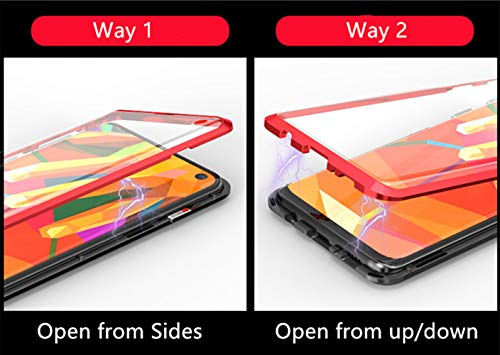 Jonwelsy Kompatibel für Huawei P30 Pro (6,47 Zoll) Hülle, 360 Grad Vorne und Hinten Gehärtetes Glas Transparente Case Cover, Stark Magnetische Adsorption Metallrahmen Handyhülle (Grün)