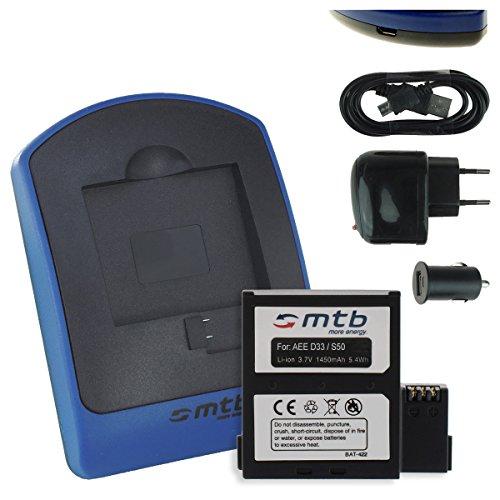 Batteria + Caricabatteria (USB/Auto/Corrente) per Nilox F-60 Evo, Evo 4K // AEE Magicam S51, S60, S70. / Veho MUVI K2 / KitVision Edge HD30W