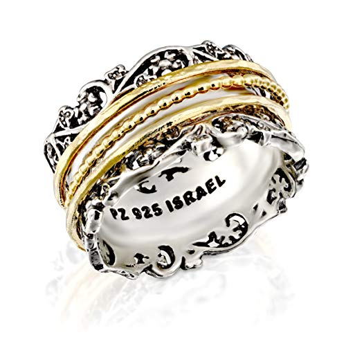 Paz Creations YG.925 Sterling Silver Ring with Gold Over Silver Spinners, Made in Israel (9)