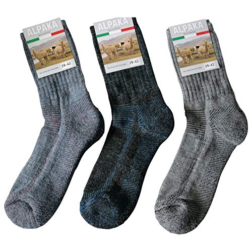 Ges&heitsstrumpf 3 Paar Alpaka Wolle und Wolle Funktionssocken Wandersocken Outdoor Trekkingsocken Socken Frotteesohle, Grau Blau Mehrfarbig, 39-42