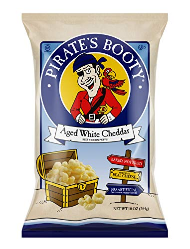 Pirate's Booty Cheese Puffs, Healthy Kids Snacks, Real Aged White Cheddar, 10oz Party Sized Bag