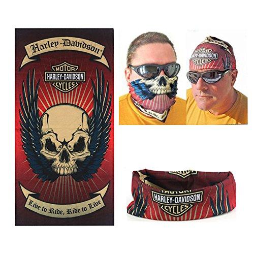 Dodo®, bandana scaldacollo da biker, marchio Harley Davidson, stampa con teschio, senza cuciture