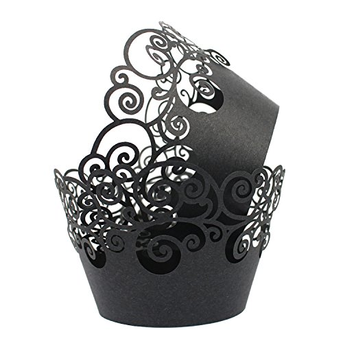 KEIVA Cupcake Wrappers 60 Filigree Artistic Bake Cake Paper Cups Little Vine Lace Laser Cut Liner Baking Cup Muffin Case Trays for Wedding Party Birthday Decoration (Black)