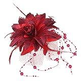 Skyllc Elastico Broche para Cabello Pluma Organdí Flor Rojo