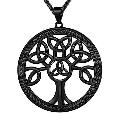 beautlace Celtic Knot Tree of Life Necklaces Black Gun Plated Round Family Tree Pendant Jewelry Gift for Men and Women KP0135K