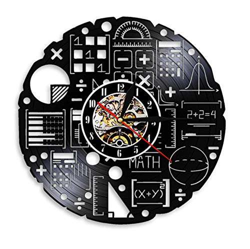 QINGHB Orologio da Parete in Vinile Equazioni Matematiche Scienza Orologio da Parete Formula Matematica Orologio da Parete in Vinile Orologio Matematico Freak-No_LED