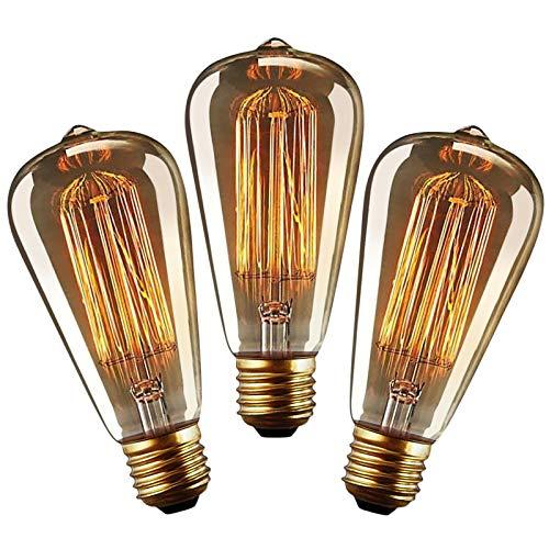 YUNLIGHTS Lampadine Vintage E27, 40W Lampada Vintage, Lampadina Vintage Edison ST64 E27 Dimmerabile Retro Lampade Decorativa Bianco Caldo - 3 Pezzi