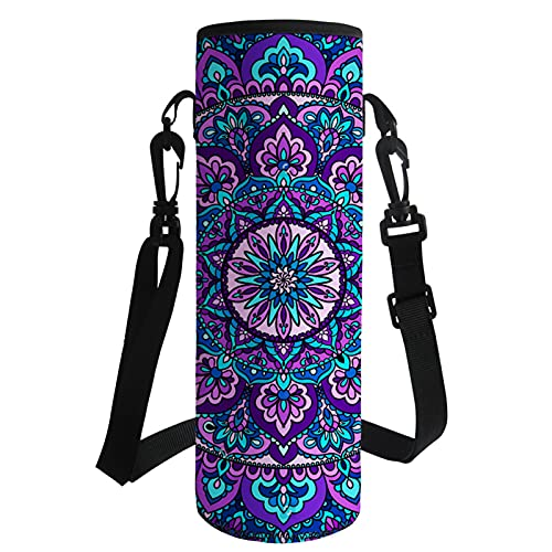 Agroupdream 750ML 1000ML Water Bottle Carrier Cover Neoprene Cup Sleeve Washable Bottle Holder Pouch for Outdoor Recreation Camping Cycling Walking Boho Lotus