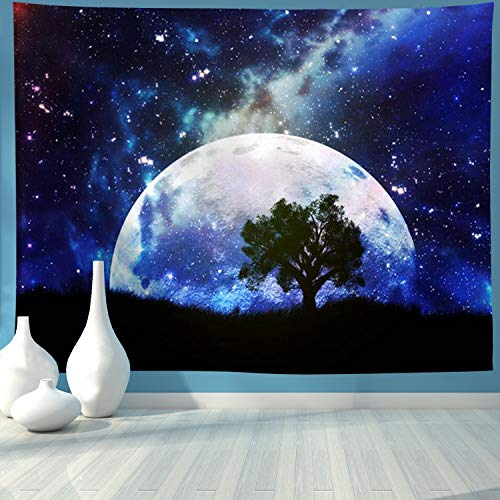 AONIONER Moon Wall Tapestry Galaxy Space Tapestry Forest Tree Tapestry Starry Sky Tapestry Psychedelic Mystic Tapestry Wall Hanging for Home