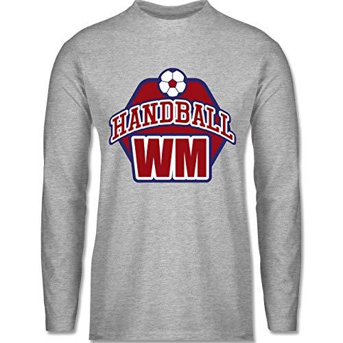 Shirtracer Handball WM 2019 - Handball WM 2019 - XL - Grau meliert BCTU005 - Herren Langarmshirt