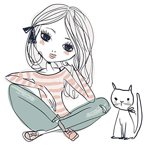 dekodino® Wandtattoo Modernes Design Mädchen mit Katze in Pastellfarben