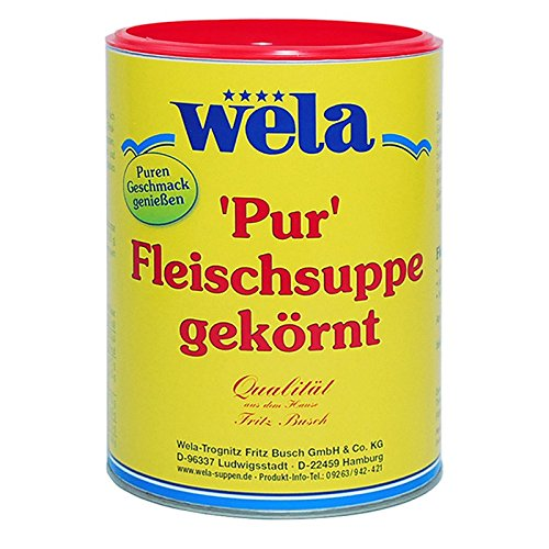 Wela Fleischsuppe gekörnt 'Pur' 1kg delikat ausgeprägter Bouillon-Geschmack. Ideal als bekömmliche Trinkbrühe oder Suppendrink