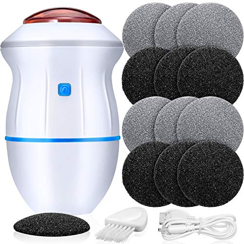 Portable Electric Vacuum Adsorption Foot Grinder Electronic Foot File Pedicure Tools Callus Remover Feet Care Sander with 12 Pieces Replacement Grind Head for Cracked Heels Dead Hard Dry Skin