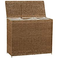 Household Essentials Brown ML-5445 Wicker 3 Compartment Laundry Sorter with Lid