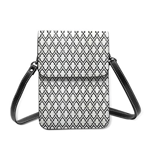 Kleine Damen-Umhängetasche – gemusterte Fliese Handy Geldbörse Portemonnaie Tasche Mehrzweck-Schultertasche aus weichem PU-Leder