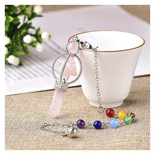 XXYHYQHJD Natural Crystal Dowsing Pendulum Rose Quartz Pendant Crystal Wand Colourful Chain for Jewelry Gift (Color : Rose Quartz, Size : One Size)