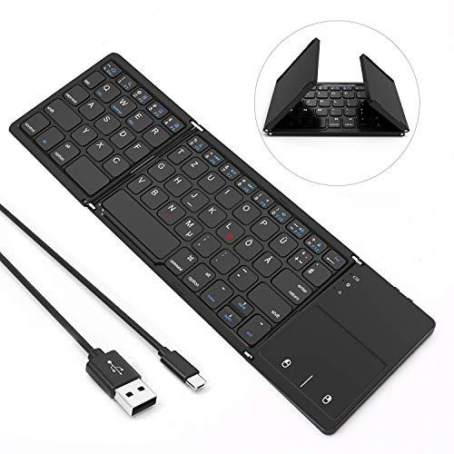 Jelly Comb Bluetooth Kabellose Tastatur mit Touchpad, Kabellos und mit USB Kabel, Dual Modus für PC, Laptop, Computer, Smart TV, iPad, Tablets, QWERTZ Deutsches Layout, Schwarz